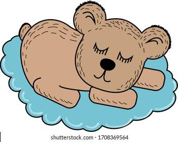 Cartoon teddy bear sleeping on a blue cloud. Suitable for children's clothing.