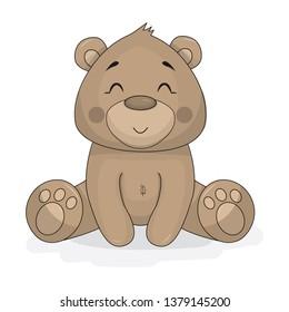 Cartoon teddy brown bear sitting vector design