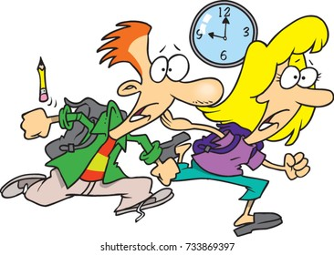 cartoon teen boy and girl racing against the clock to school