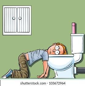 Cartoon teen boy sick in the toilet. Wishing he was dead