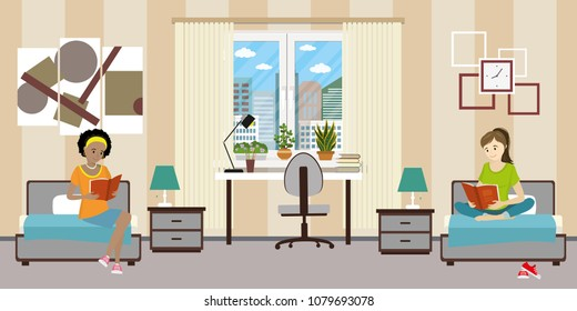 Cartoon teen female students in dormitory room. Girl characters together, doing homework,flat vector illustration