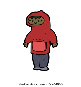 cartoon teen in hooded top