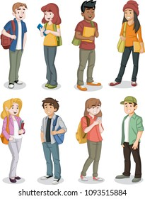 Cartoon teenager students with books and backpack.