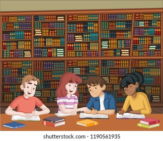 Cartoon teenager students with books on big library. Kids studying.