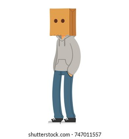 Cartoon teenager wearing paper bag hat on his head. Anonymous character vector illustration.