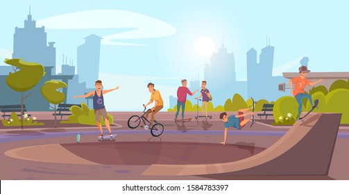Cartoon teenagers characters having fun on nature. Outdoors sport activities in urban park. Boys riding bicycles, scooters and skateboards on track. Natural landscape. Rollerdrom. Vector illustration
