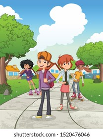 Cartoon teenagers in suburb neighborhood. Green park landscape with grass, trees, and houses.