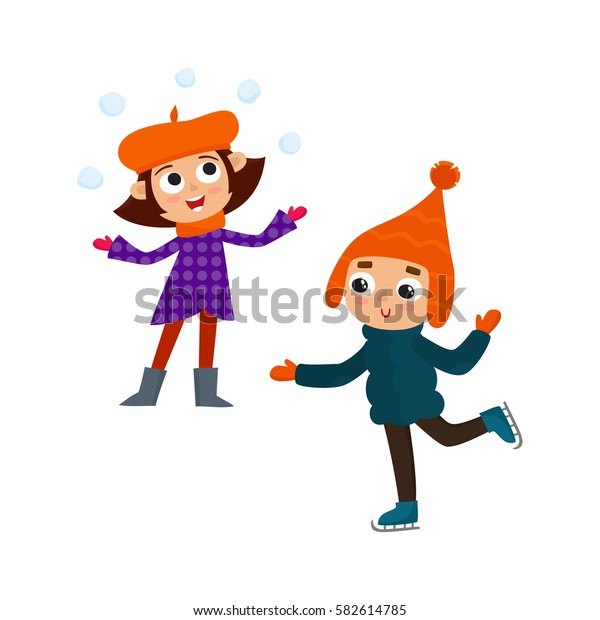 Cartoon teenages in winter clothes, cartoon vector illustration isolated on white background. Girl playing with a snowballs, boy with winter skates , fun winter activity, outdoor leisure time