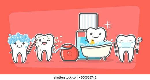 Cartoon teeth care and hygiene concept. Floss, toothbrush, mouthwash, mirror, probe. Treatment, and hygiene. Healthy happy teeth vector illustration