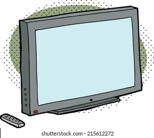 Cartoon television with remote control over green