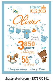 Cartoon template of baby birth certificate for boys, named Oliver, with a little horse, Teddy bear and drying clothes on a clothesline