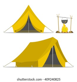 Cartoon tent and set bonfire isolated. sports tourism nature. Objects bonfire, tents. Tents camping. The journey to the mountains and forests with tent. Vector tent illustration. Summer rest tents.