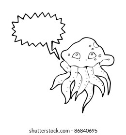 cartoon tentacle squid with speech bubble