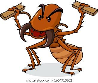 Cartoon termites eating wood, vector