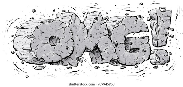 Cartoon text of the acronym OMG! made of quaking, cracking and shattering grey stone.