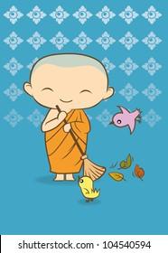 Cartoon Thai buddha Monk Blue background