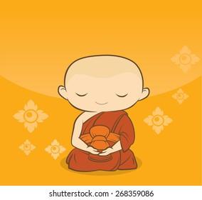 Cartoon Thai buddha Monk concentration Yellow background