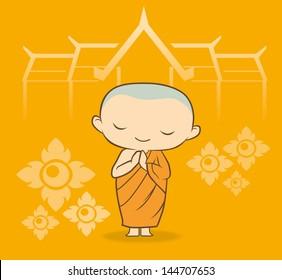 Cartoon Thai buddha Monk Yellow background