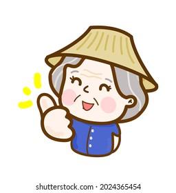 Cartoon Thai Farmer Character Vector.