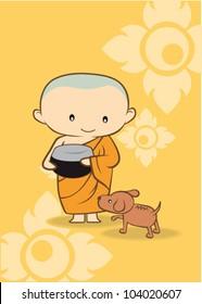 Cartoon Thai Monk buddha