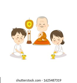 Cartoon Thai Monk and People Pour Ceremonial water of dedication character. vector.