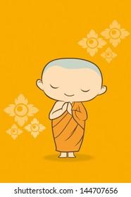 Cartoon Thai Monk Yellow background