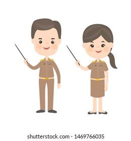 Cartoon Thai Teacher Characters in Uniform
