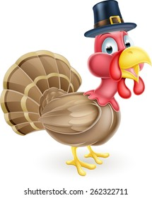 Cartoon thanksgiving turkey mascot wearing a pilgrim or puritan hat