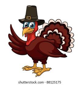A cartoon thanksgiving turkey in a pilgrim hat on white background