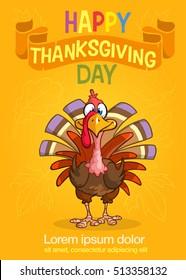 Cartoon Thanksgiving turkey poster. Vector Thanksgiving invitation