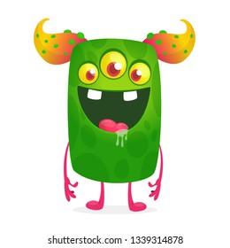 Cartoon thee eyed alien illustration. Halloween design