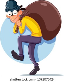 Cartoon Thief with Money Bag Vector Illustration. Funny robber burglar trying to get away with the prey