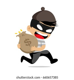 Cartoon thief robber character poses on white background vector illustration