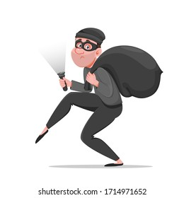 Cartoon thief walking carefully, bandit carries sack with money. Funny burglar. Vector illustration on white background