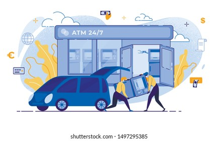 Cartoon Thieves Carry ATM to Car Vector Illustration. Man in Mask Robber Character. Burglar Steal Money. Bank Terminal Robbery Danger Concept. Financial Crime, Cash Theft, Banking Vulnerabilities