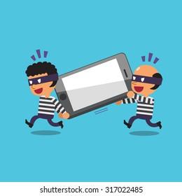 Cartoon thieves stealing big smartphone