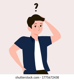 Cartoon thinking man with question mark vector illustration. Male is confusing. Portrait of thoughtful boy. smart men thinking or solving problem. Pensive guy surrounded by thought bubbles