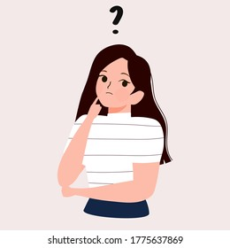 Cartoon thinking woman with question mark vector illustration. Female is confusing. Portrait of thoughtful girl. smart women thinking or solving problem. Pensive girl surrounded by thought bubbles