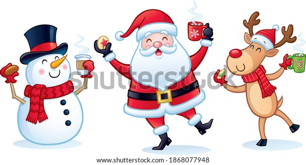Cartoon of three cheerful Christmas characters, Santa Claus, snowman, and reindeer with Christmas cookies and mugs and cups of steaming hot cocoa.