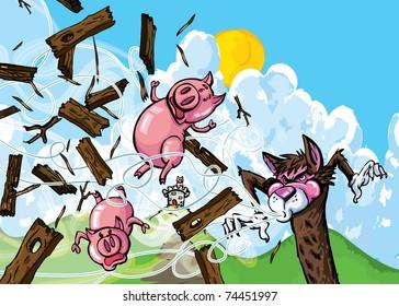 Cartoon of three pigs and the big bad wolf
