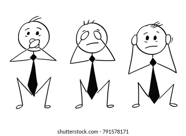 Cartoon of Three Wise Businessmen Who See, Hear and Speak no Evi
