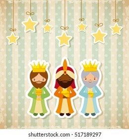 cartoon three wise men with decorative stars hanging. merry christmas design. vector illustration