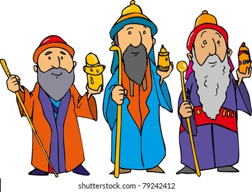 Cartoon of the three wise men with gold, frankincense and myrrh.