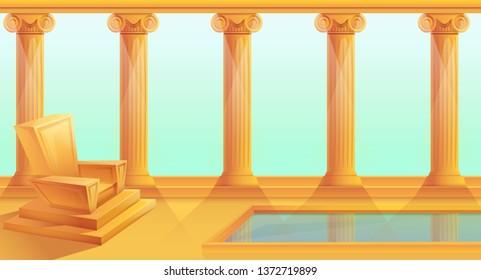 cartoon throne in greek style, vector illustration