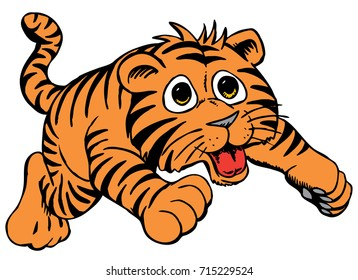 Cartoon Tiger Cub, friendly and bouncy, which gives tribute to traditional school mascots but with a new look and attitude. Suitable for all sports.
