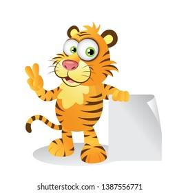 Cartoon Tiger holding a a Blank Notecard signage