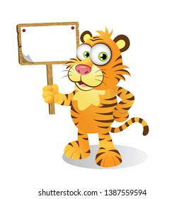 Cartoon Tiger holding a Wooden Signage