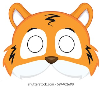 cartoon tiger mask for children masquerade. Vector Mask pattern.