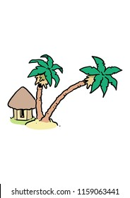 cartoon tiki huts and palms