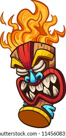 Cartoon tiki mask with fire hair. Vector clip art illustration with simple gradients. All in a single layer.